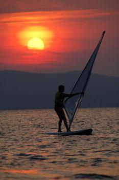 Windsurfing on Lake Sebago
